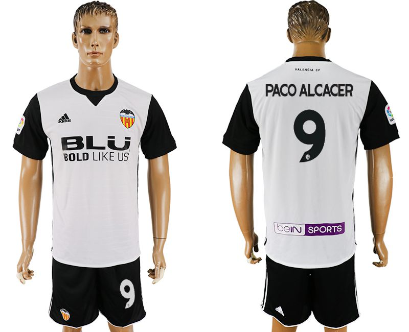 Men 2017-2018 club Valencia home 9 white soccer jersey