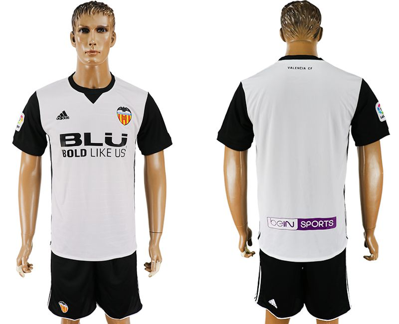 Men 2017-2018 club Valencia home blank white soccer jersey