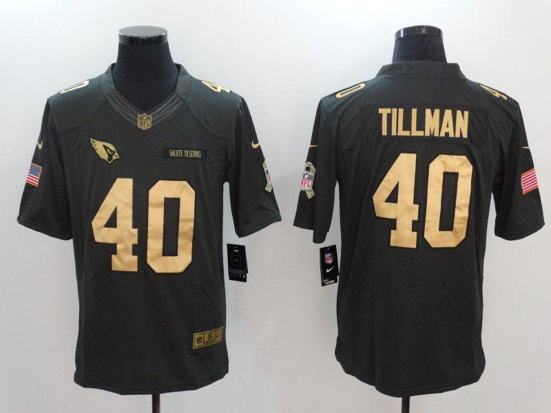 Men Arizona Cardinals 40 Pat Tillman gold number Nike Salute to Service Limited NFL Jersey