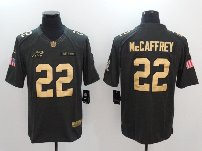 Men Carolina Panthers 22 McCaffrey gold number Nike Salute to Service Limited NFL Jersey