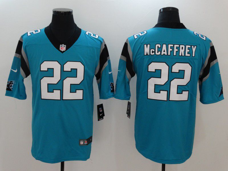 Men Carolina Panthers 22 Mccaffrey Blue Nike Vapor Untouchable Limited NFL Jerseys