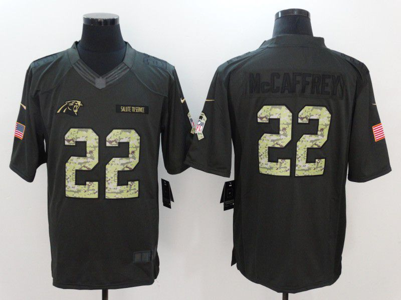 Men Carolina Panthers 22 Mccaffrey Green Salute to Service Limited Jersey