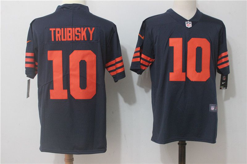 Men Chicago Bears 10 Trubisky Blue Orange Nike Vapor Untouchable Limited NFL Jerseys