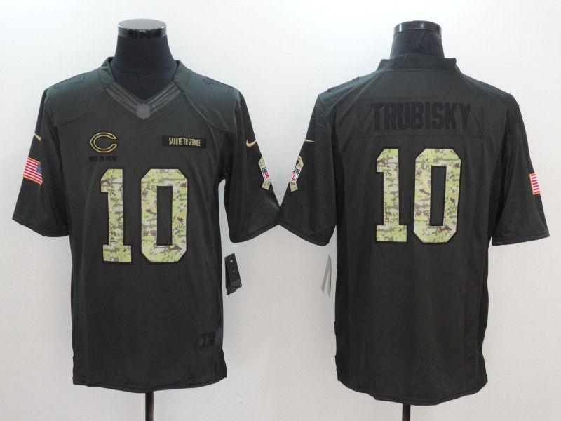 Men Chicago Bears 10 Trubisky Green Nike Salute to Service Limited NFL Jersey