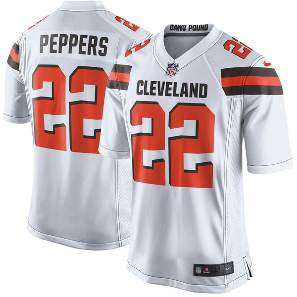 Customized Men Cleveland Browns 22 Jabrill Peppers Nike White 2017 Draft Pick Game NFL Jersey