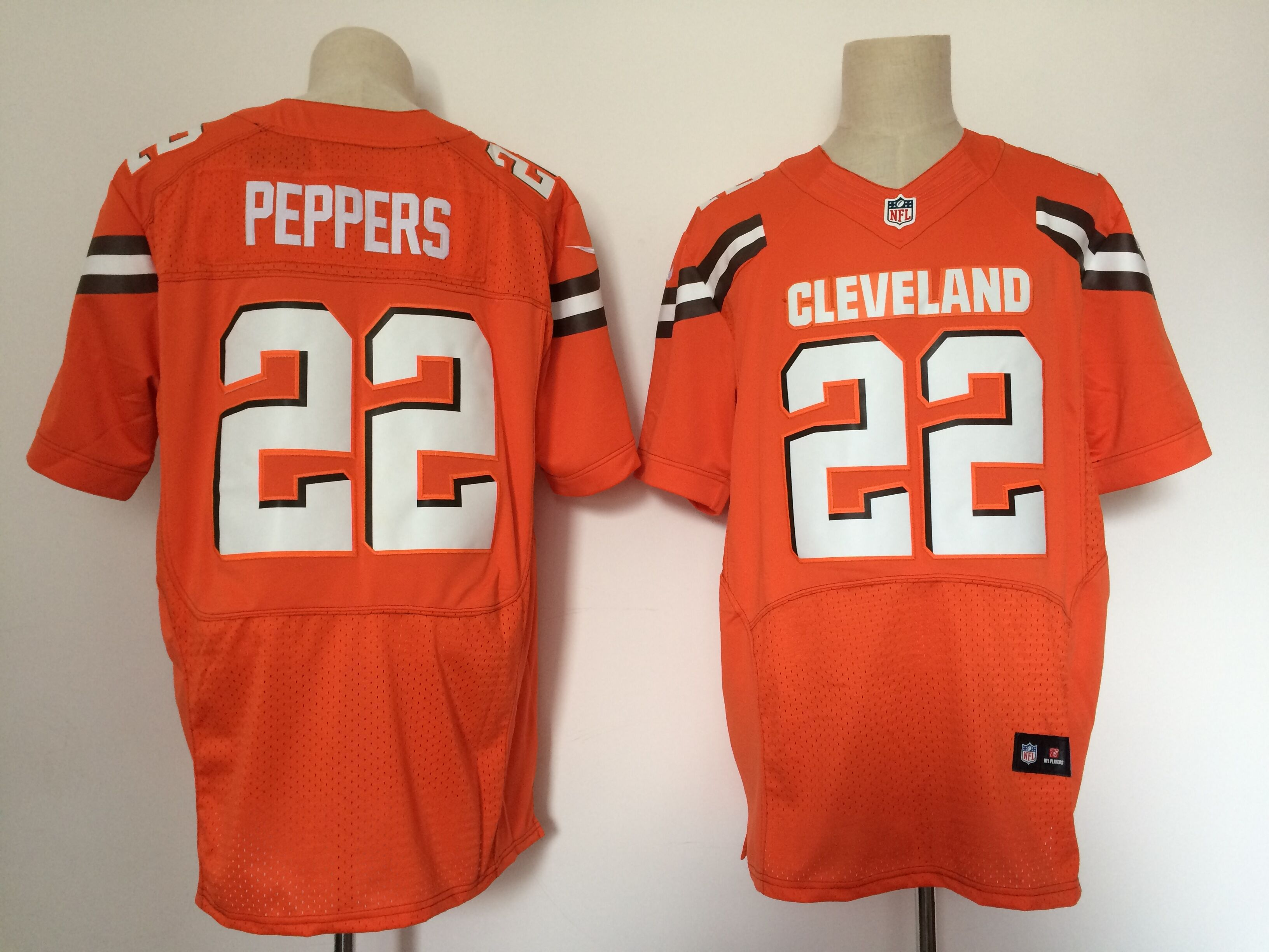 Men Cleveland Browns 22 Peppers Orange Elite Nike NFL Jerseys