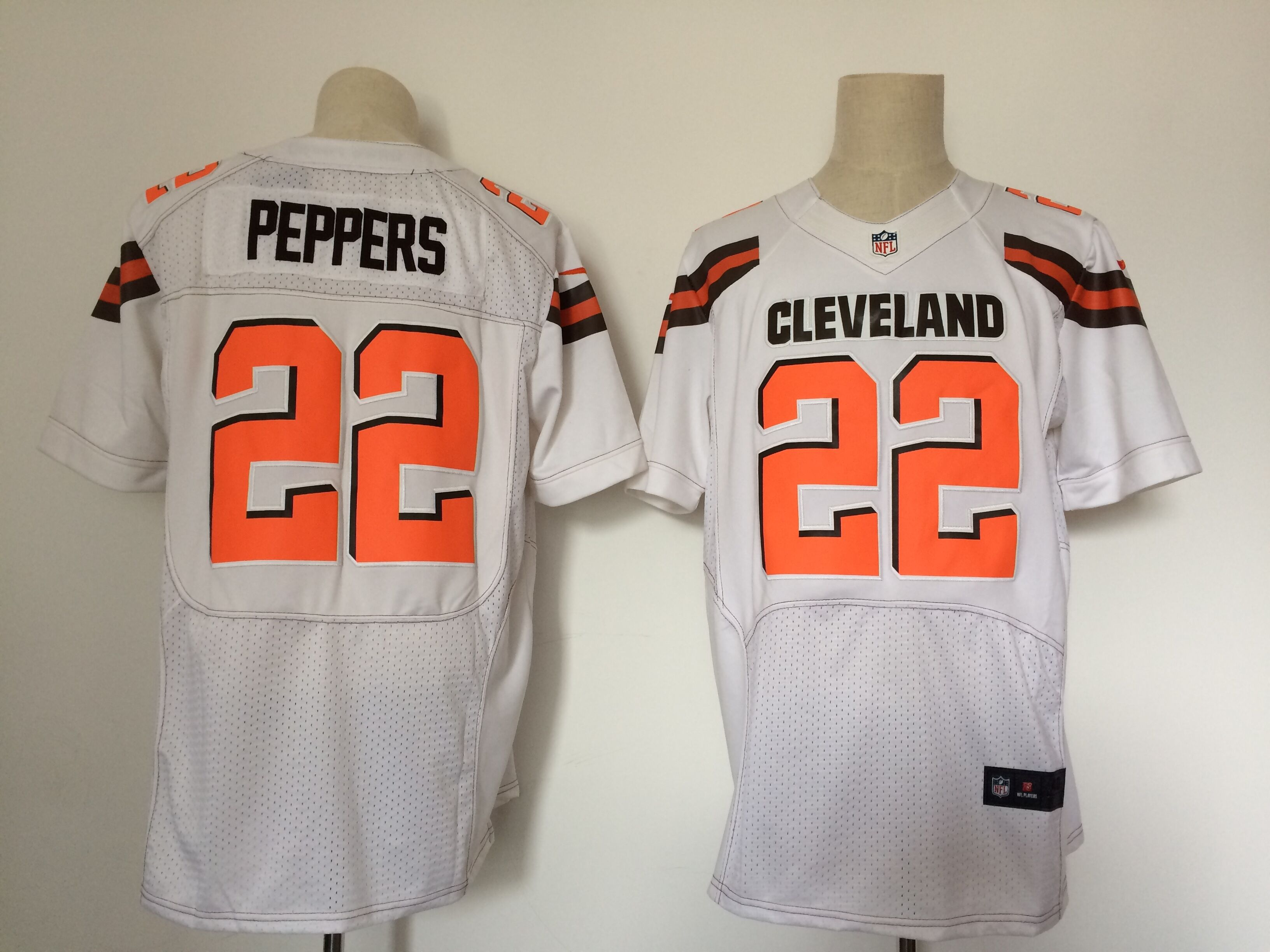 Men Cleveland Browns 22 Peppers White Elite Nike NFL Jerseys
