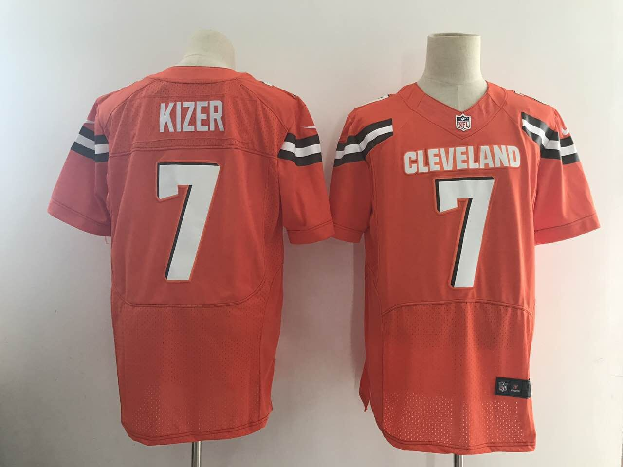 Men Cleveland Browns 7 Kizer Orange Elite Nike NFL Jerseys