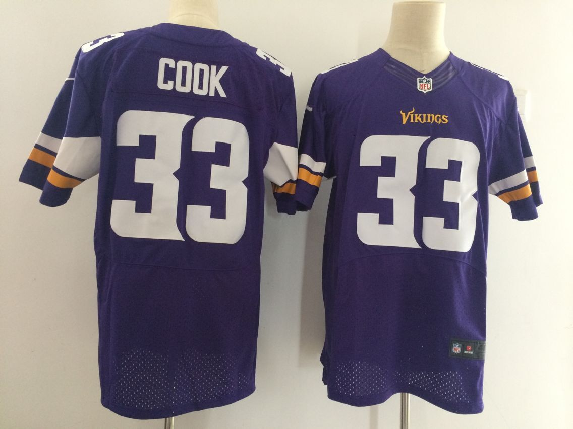 Men Minnesota Vikings 33 Cook Purple Elite Nike NFL Jerseys