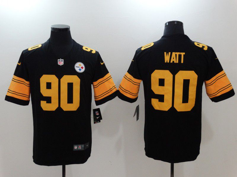 Men Pittsburgh Steelers 90 Watt Black Yellow Nike Vapor Untouchable Limited NFL Jerseys