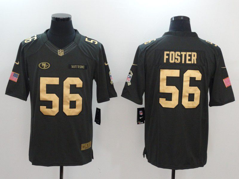 Men San Francisco 49ers 56 Foster gold number Nike Salute to Service Limited NFL Jersey