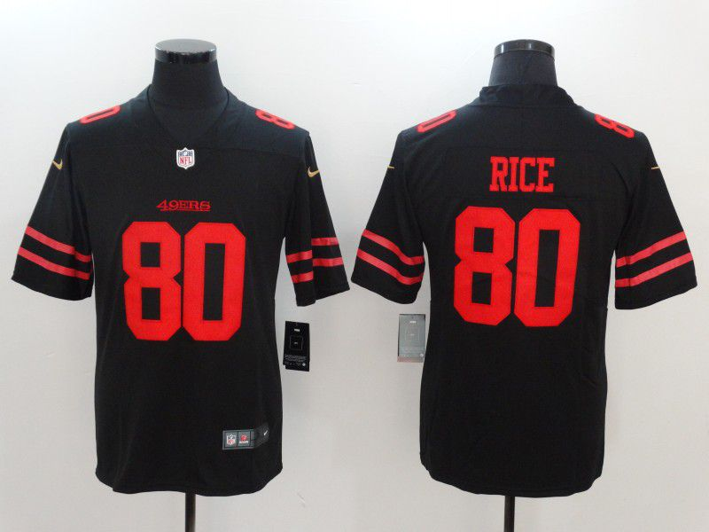 Men San Francisco 49ers 80 Rice Black Nike Vapor Untouchable Limited NFL Jerseys