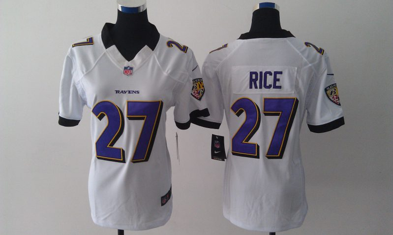Women Baltimore Ravens 27 Rice White Nike NFL Jerseys