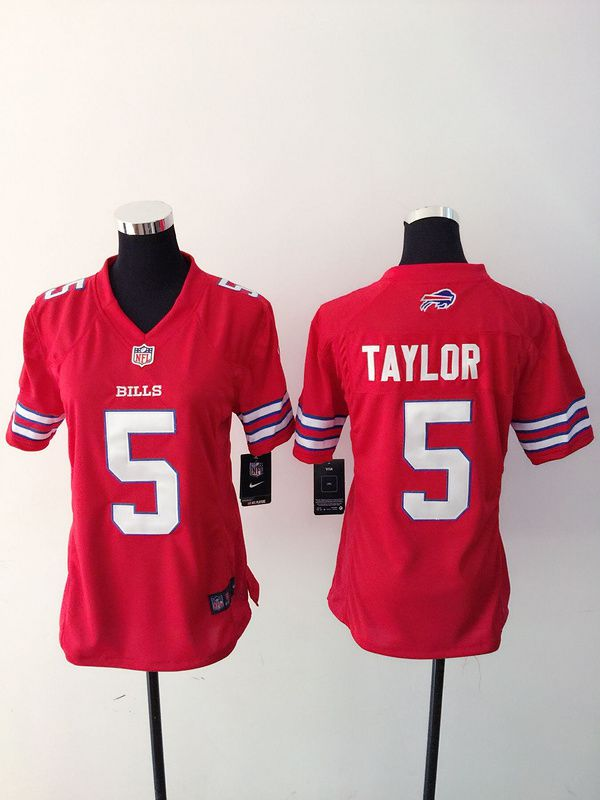 Women Buffalo Bills 5 Taylor Red Nike NFL Jerseys