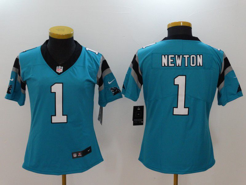 Women Carolina Panthers 1 Cam Newton Blue Nike Vapor Untouchable Limited NFL Jerseys