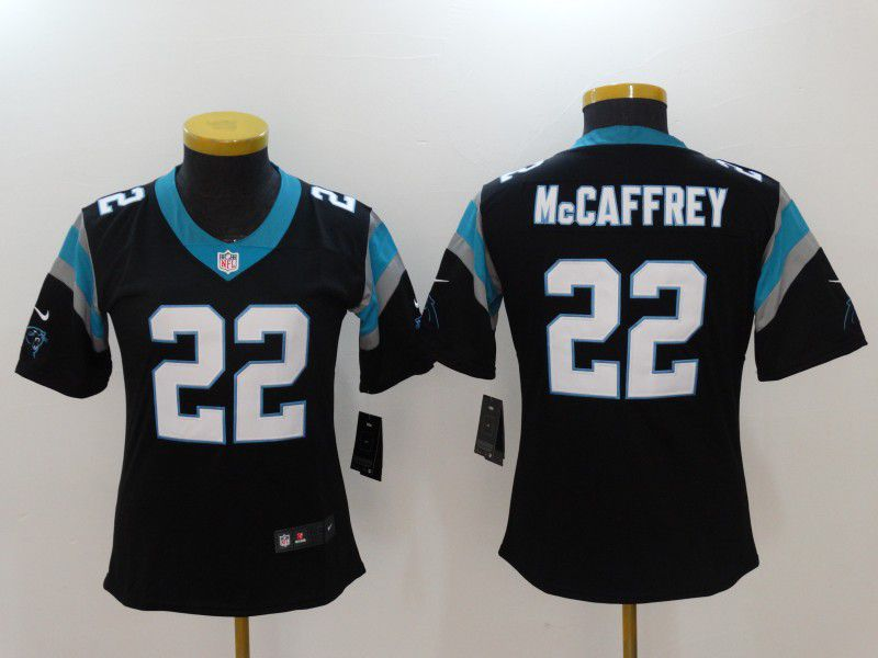 Women Carolina Panthers 22 Mccaffrey Black Nike Vapor Untouchable Limited NFL Jerseys
