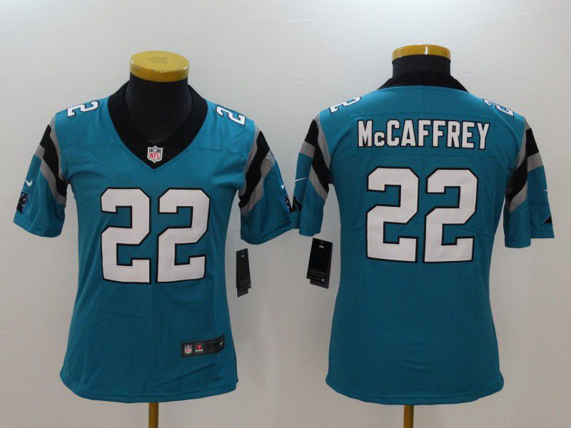 Women Carolina Panthers 22 Mccaffrey Blue Nike Vapor Untouchable Limited NFL Jerseys