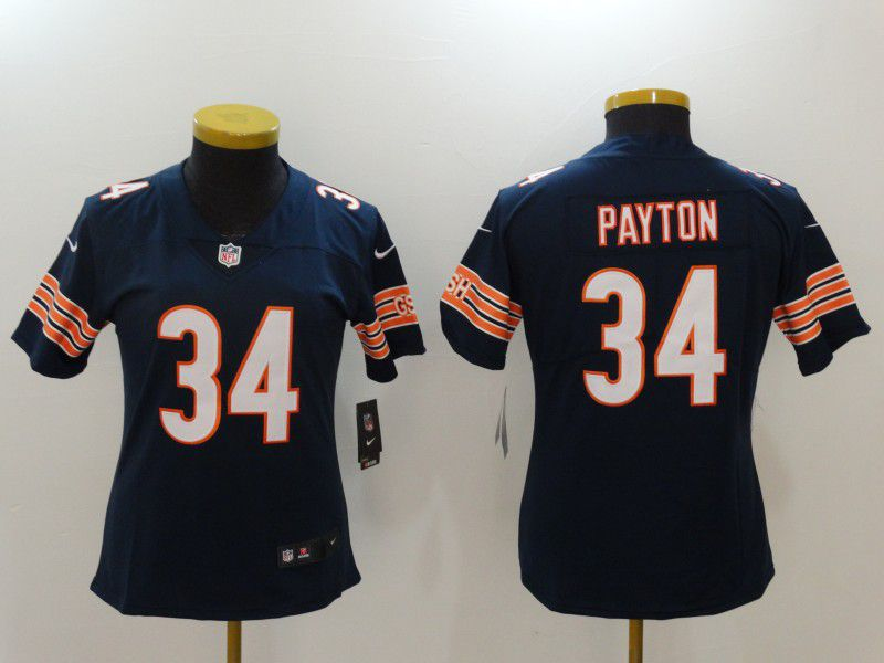 Women Chicago Bears 34 Walter Payton blue Nike Vapor Untouchable Limited NFL Jerseys