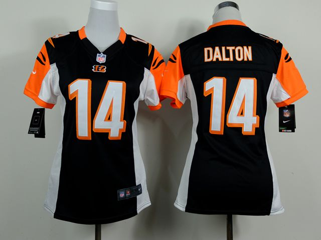 Women Cincinnati Bengals 14 Andy Dalton Black Nike NFL Jerseys