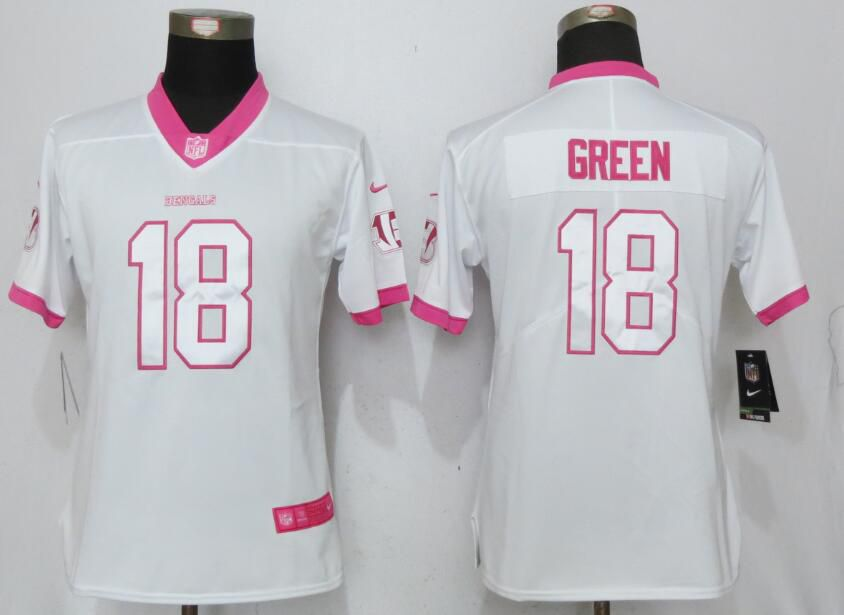 Women Cincinnati Bengals 18 Green Matthews White Pink Stitched Rush Fashion Nike NFL Jerseys