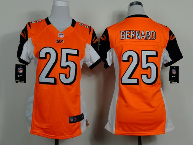 Women Cincinnati Bengals 25 Giovani Bernard Orange Nike NFL Jerseys