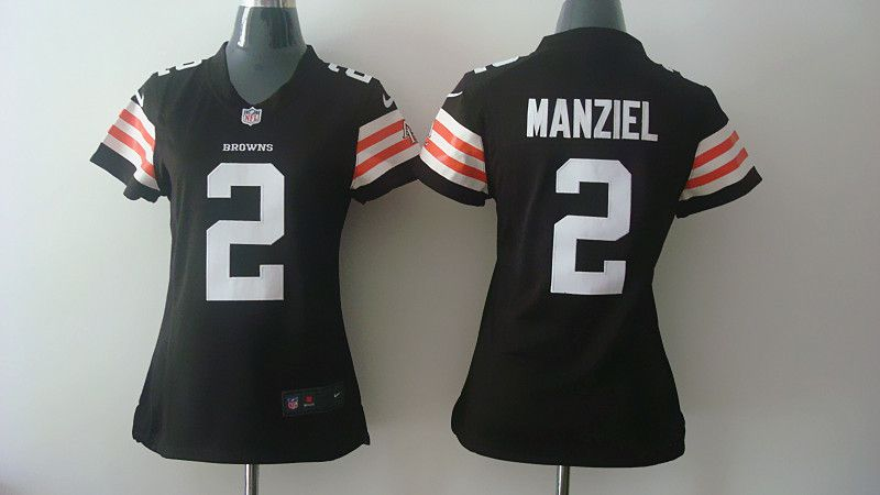 Women Cleveland Browns 2 Johnny Manziel Brown Nike NFL Jerseys