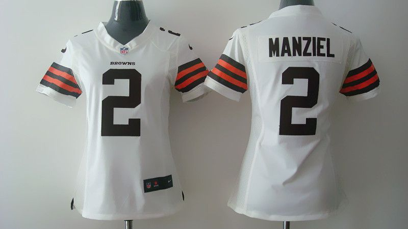 Women Cleveland Browns 2 Johnny Manziel White Nike NFL Jerseys