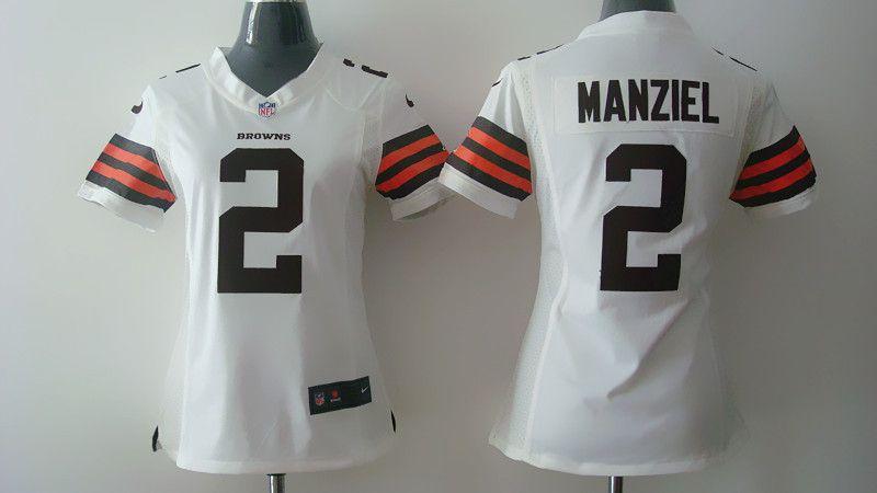 best website 3099f 03ae2 johnny manziel white browns jersey