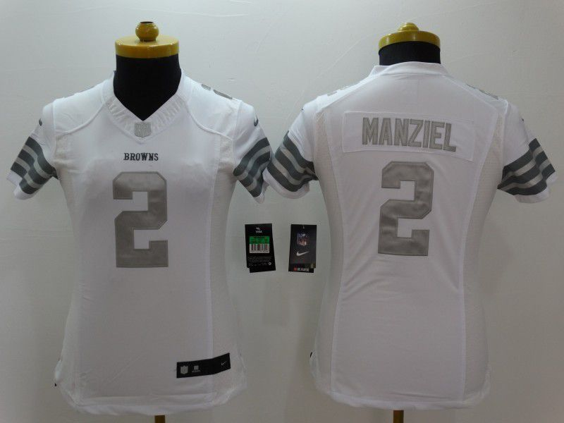 Women Cleveland Browns 2 Manziel Brown Platinum White Nike NFL Jerseys
