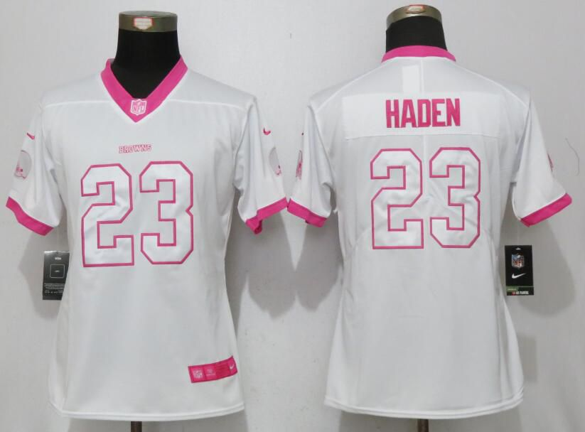 Women Cleveland Browns 23 Haden Matthews White Pink Stitched Rush Fashion Nike NFL Jerseys
