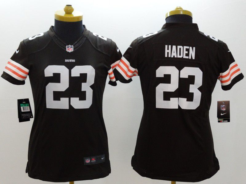 Women Cleveland Browns 23 Joe Haden Brown Nike NFL Jerseys