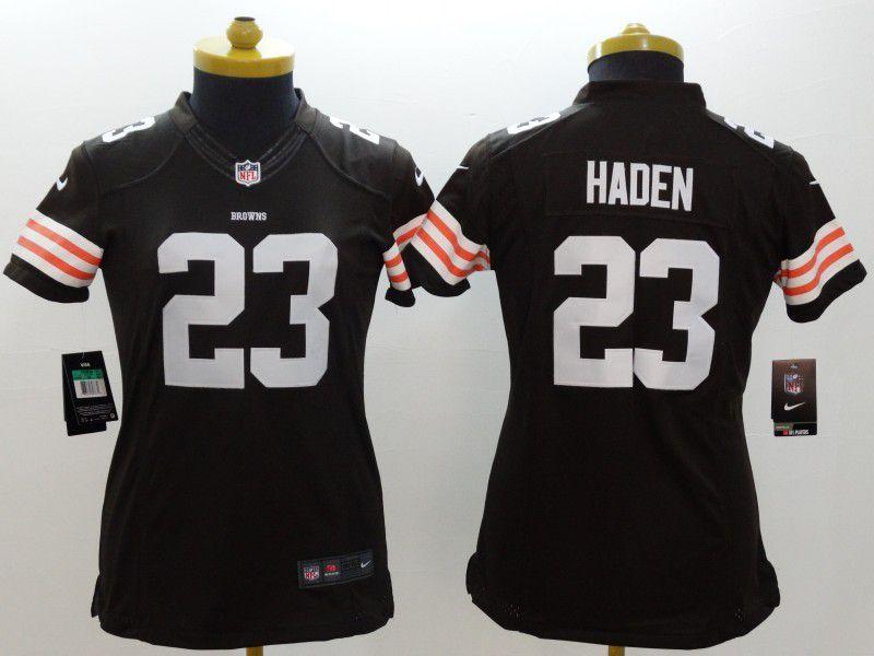 df16c2109 ... Women Cleveland Browns 23 Joe Haden Brown Nike NFL Jerseys ...