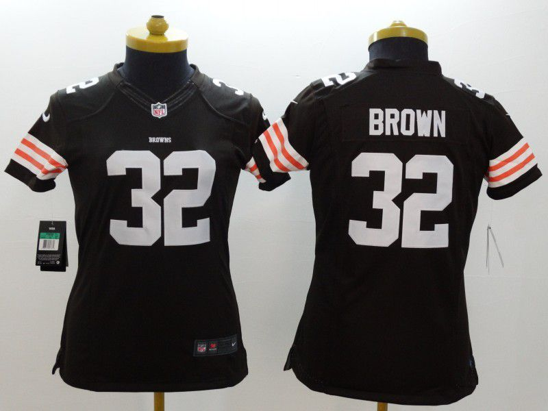 Women Cleveland Browns 32 Jim Brown Brown Nike NFL Jerseys