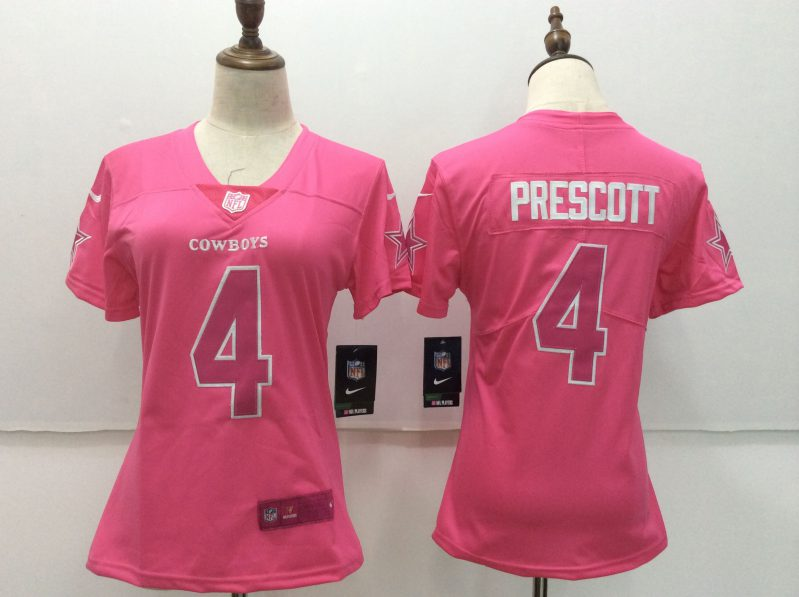 Women Dallas cowboys 4 Prescott pink Nike Vapor Untouchable Limited NFL Jerseys