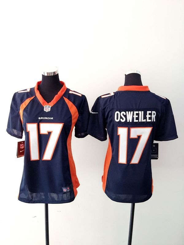 Women Denver Broncos 17 Brock Osweiler Blue Nike NFL Jerseys