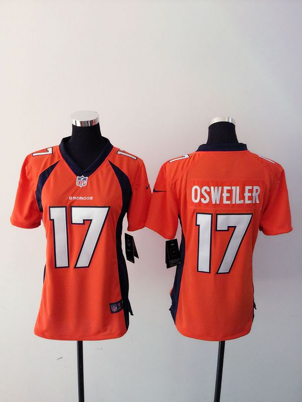 Women Denver Broncos 17 Brock Osweiler Orange Nike NFL Jerseys