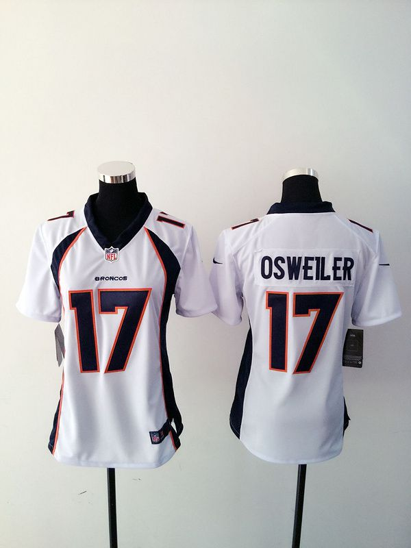 Women Denver Broncos 17 Brock Osweiler White Nike NFL Jerseys