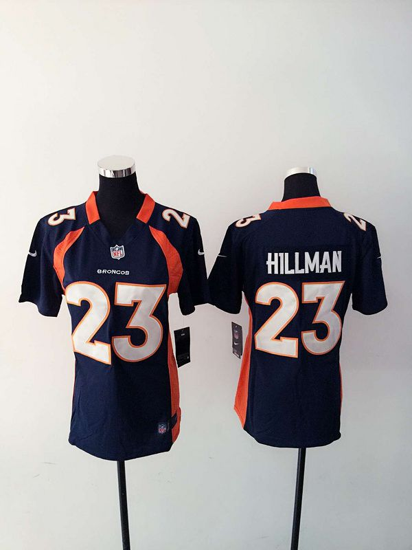 Women Denver Broncos 23 Hillman Blue Nike NFL Jerseys