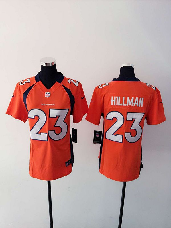 Women Denver Broncos 23 Hillman Orange Nike NFL Jerseys