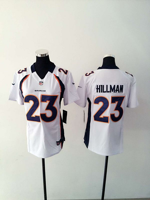 Women Denver Broncos 23 Hillman White Nike NFL Jerseys