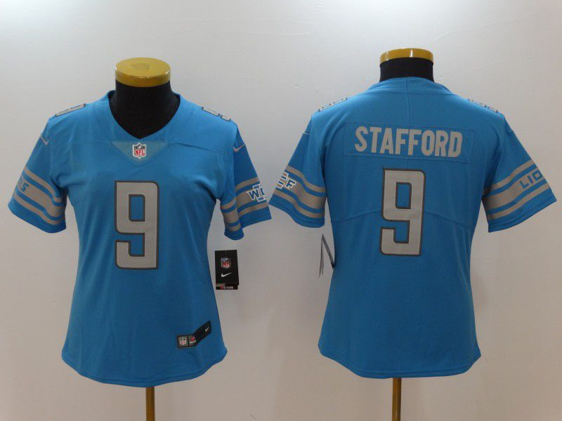Women Detroit Lions 9 Stafford Blue Nike Vapor Untouchable Limited NFL Jerseys
