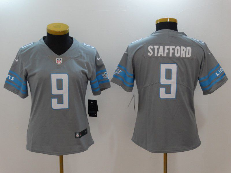 Women Detroit Lions 9 Stafford Grey Nike Vapor Untouchable Limited NFL Jerseys