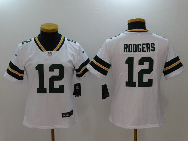 Women Green Bay Packers 12 Rodgers white Nike Vapor Untouchable Limited NFL Jerseys