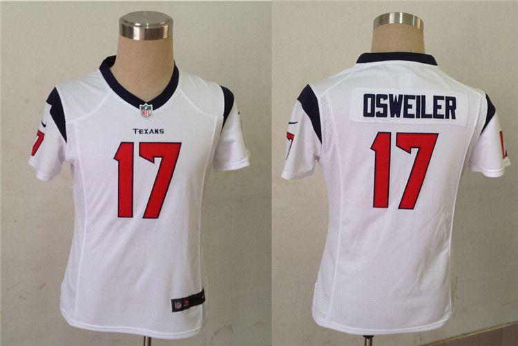Women Houston Texans 17 Osweiler White Nike NFL Jerseys