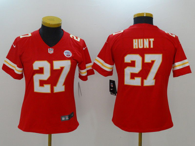 Women Kansas City Chiefs 27 Hunt Red Nike Vapor Untouchable Limited NFL Jerseys
