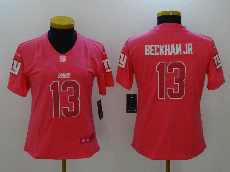 Women New York Giants 13 Beckham jr Pink Nike Vapor Untouchable Limited NFL Jerseys