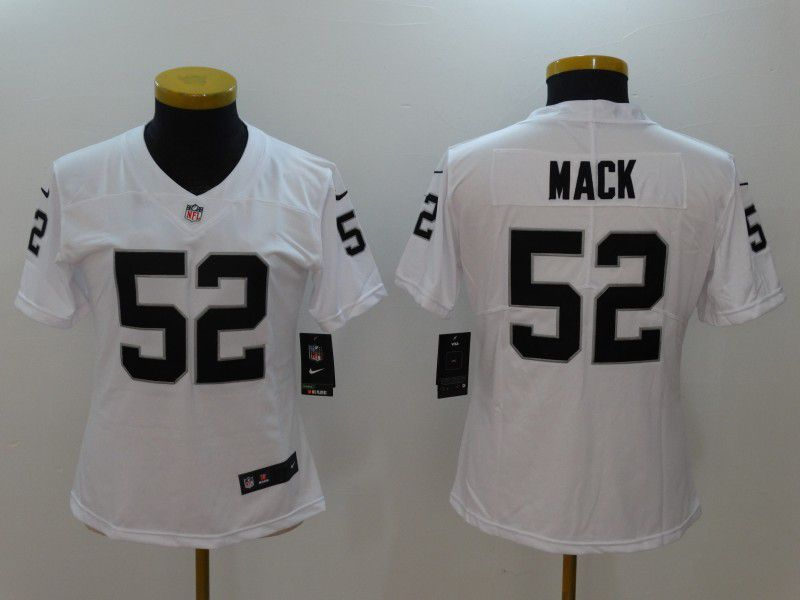 Women Oakland Raiders 52 Mack White Nike Vapor Untouchable Limited NFL Jerseys
