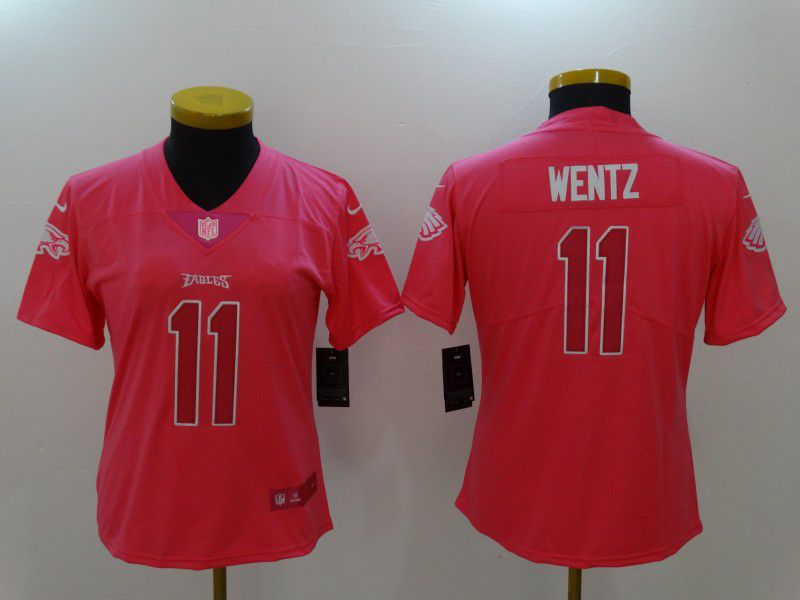 Women Philadelphia Eagles 11 Wentz Pink Nike Vapor Untouchable Limited NFL Jerseys1