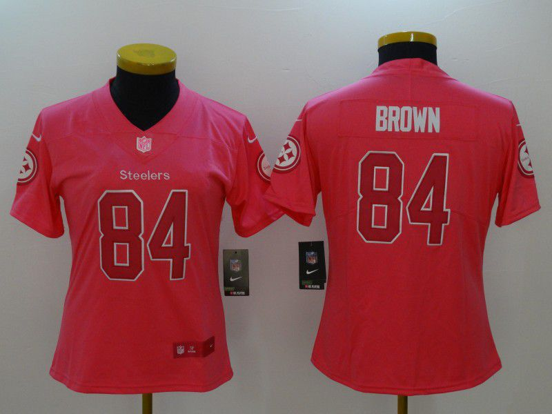 Women Pittsburgh Steelers 84 Brown Pink Nike Vapor Untouchable Limited NFL Jerseys