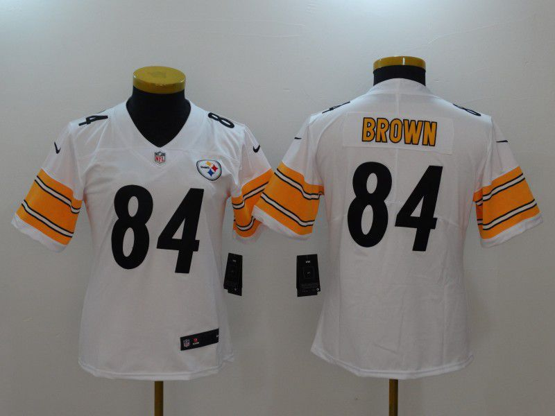 Women Pittsburgh Steelers 84 Brown White Nike Vapor Untouchable Limited NFL Jerseys